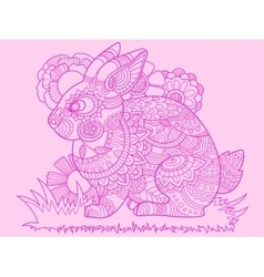 Rabbit bunny coloring book for adults vector image