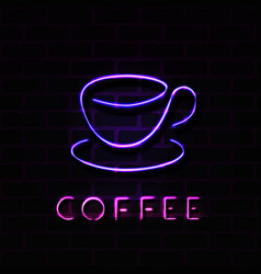 realistic neon coffee cup sign vector image