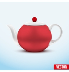Red ceramic teapot vector