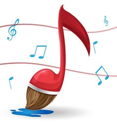 Red Note Music Brush Paint vector image