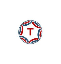 ribbon circle star initial t vector image