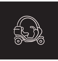 Rickshaw sketch icon vector