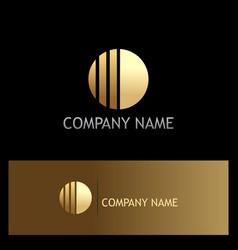round line shape gold business logo vector image