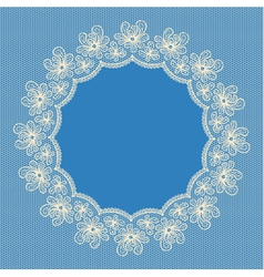 Round white lacy frame on blue background vector image