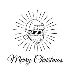 santa claus weared black sunglasses vector image