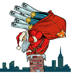 santa claus with champagne climbs chimney vector image