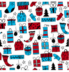 seamless pattern with hand drawn christmas gifts vector image