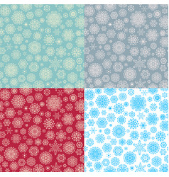 set of 4 seamless snowflakes pattern eps 10 vector image