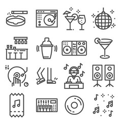 Set of dancing dj music disco line icons vector