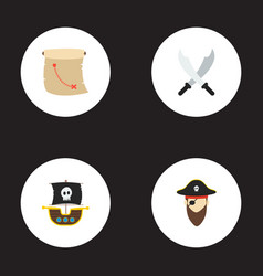 set of pirate icons flat style symbols with ship vector image