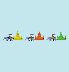 Set tourist riding on elephant ayutthaya vector