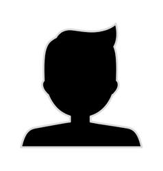 Silhouette half body boy monochrome pompadour vector