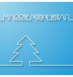 Silhouette of text and fir-tree on a light blue vector