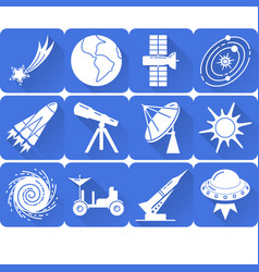 Space silhouette icons set in flat style with long vector