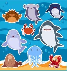 Sticker design with cute sea animals vector