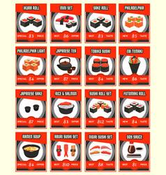 Sushi menu card for japanese restaurant design vector