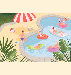 swimming pool happy characters family couples vector image