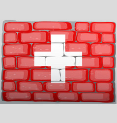 Swiss flag on the wall vector
