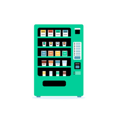 teal green vending machine - flat isolated vector image