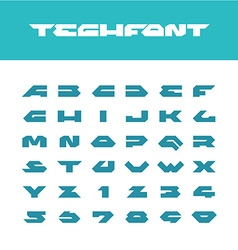Tech font wide bold poster cornered letters vector
