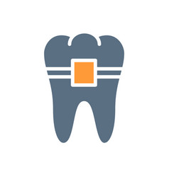 Tooth with braces colored icon orthodontic vector