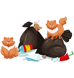 Trashbags with rat and cats vector image