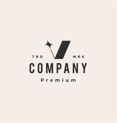 V letter star hipster vintage logo icon vector
