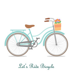 Vintage bicycle with basket and text vector