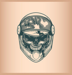 Vintage racer skull monochrome hand drawn tatoo vector