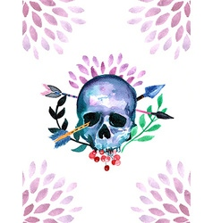 Watercolor with Skull vector
