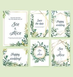 Wedding invitation frames floral elegant invite vector