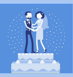Wedding rich iced cake with bride and groom on top vector