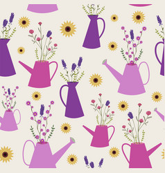 wild flowers in watering cans seamless pattern vector image