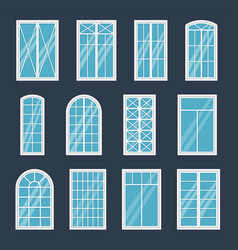 window exterior various glass windows frame types vector image
