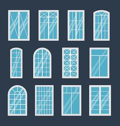 Window exterior various glass windows frame types vector