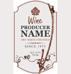 Wine label with grapevine and grape leaf vector