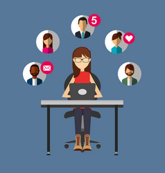 woman talking with laptop in desk people social vector image