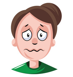 Woman with hair tied in a bun is depressed on vector