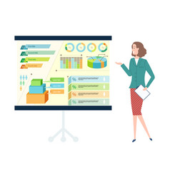 Worker presenting charts on board work vector