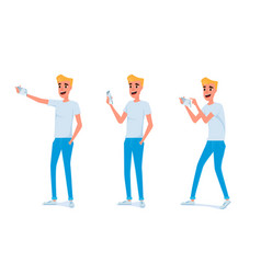 young man taking photos with smart phone vector image