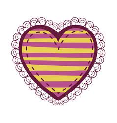 colorful heart shape with lines pattern curl vector image
