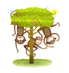 funny monkeys friends on the tree animal cartoon vector image vector image
