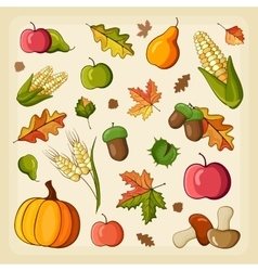 Thanksgiving Harvest icon set vector image