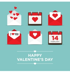 valentines day set icons vector image vector image