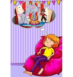 Woman napping on sofa vector image vector image