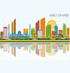 abu dhabi skyline with color buildings blue sky vector image