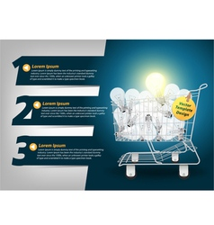 Creative Template light bulb in the shopping cart vector image