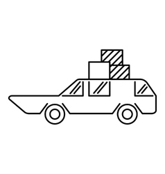 Hatchback with boxes icon outline style vector image vector image