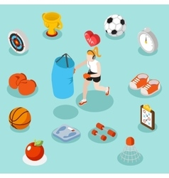 Isometric sport lifestyle and fitness flat 3d vector image vector image