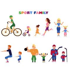 people parents and kids doing sport activities vector image vector image